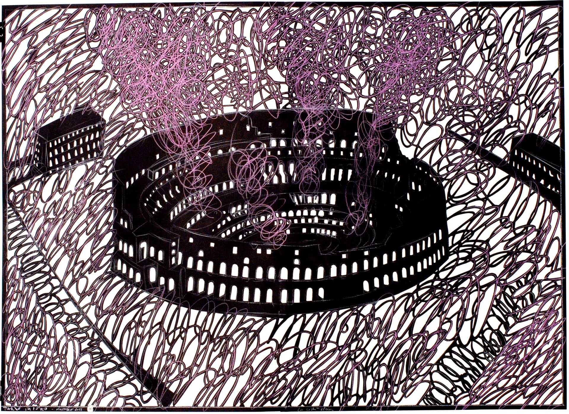 Tardo-impero,-2011.-100X140cm.-Cartoncino-ritagliato-e-grafite